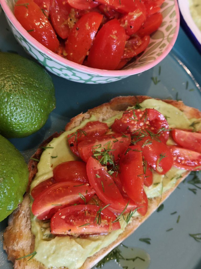 Avocado Butter on Country Loaf with Tomato Salsa